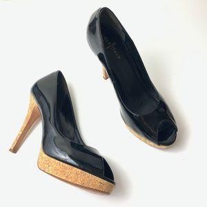 Cole Haan Patent Leather Peep Toe with Cork Heel